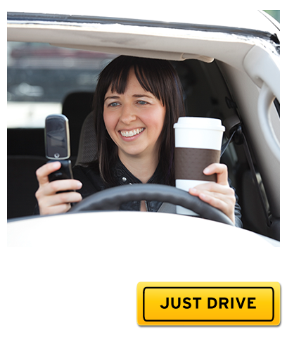 """Just Drive"" message with distracted driver image"